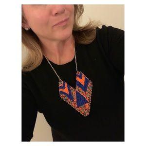 Anthropologie necklace w/ blue and orange beading